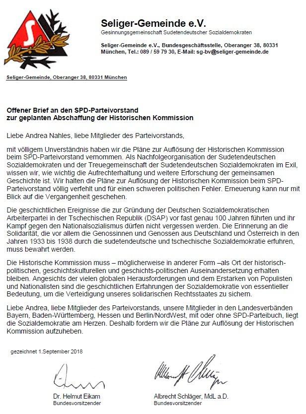 Offener Brief An Den Spd Parteivorstand Seliger Gemeinde Bayern